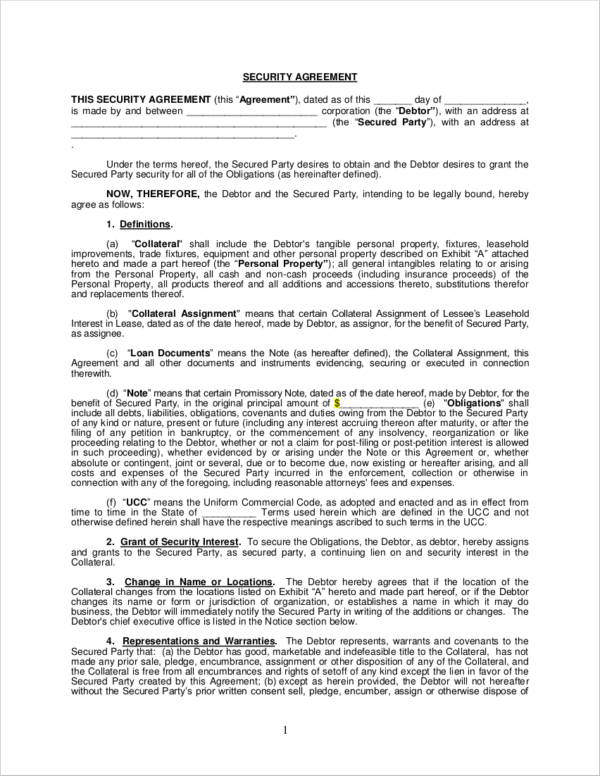 security agreement sample in pdf
