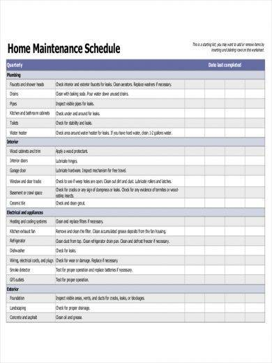 simple home maintenance schedule sample