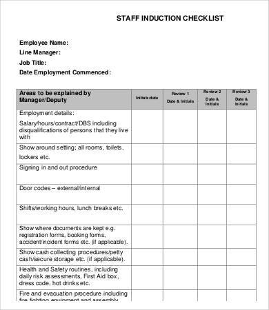 staff induction checklist sample
