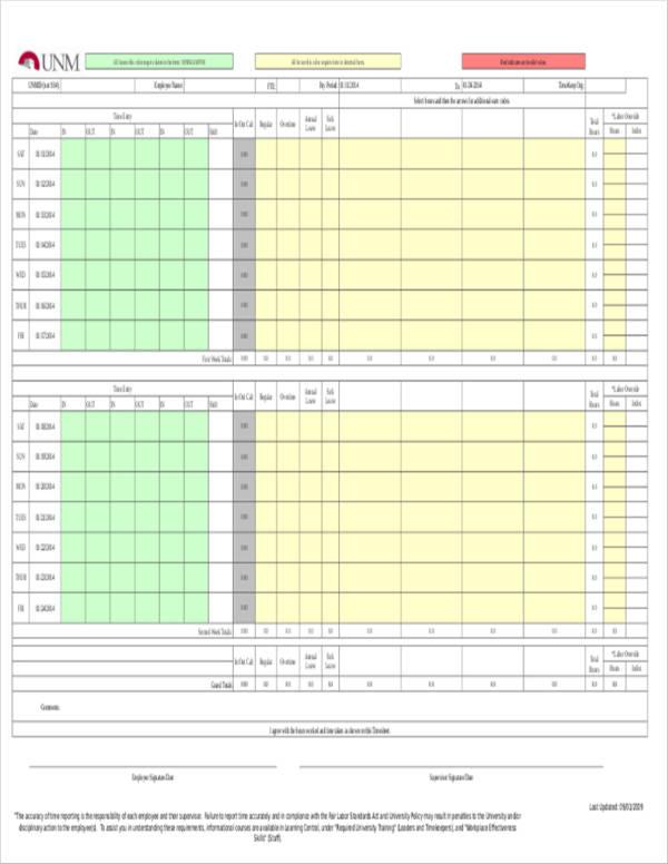 standard timesheet payroll