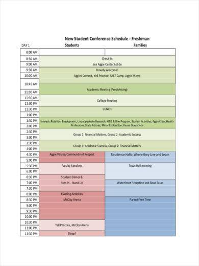 student conference schedule