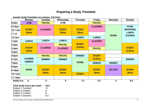 student study timetable schedule