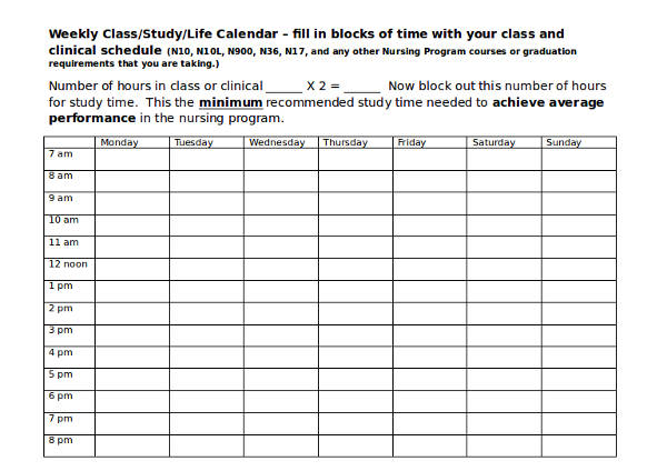 student weekly class schedule template2