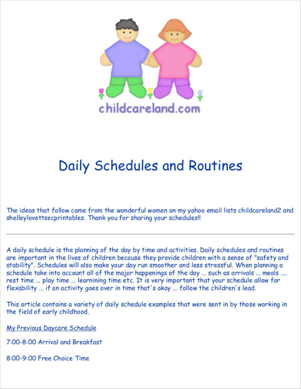 toddler daily schedules and routines