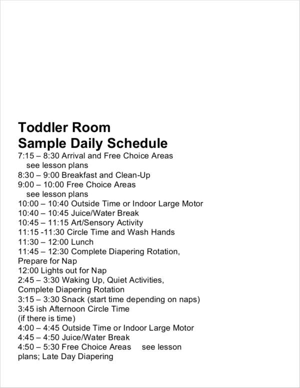 7  toddler schedule samples and templates