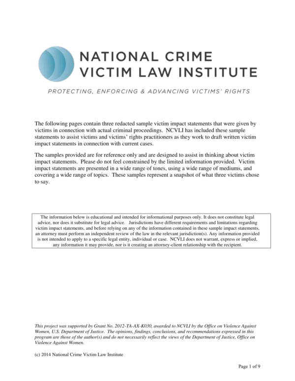 victim impact statement sample