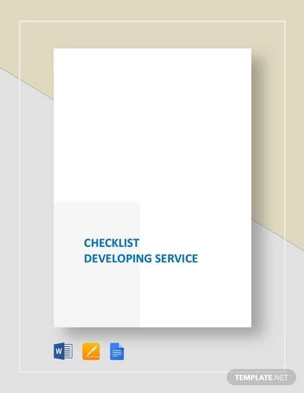 checklist developing service