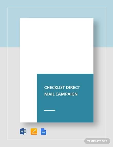 checklist direct mail campaign