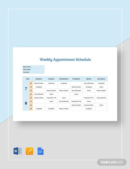 weekly appointment