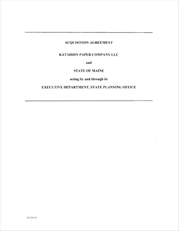 acquisition agreement in pdf
