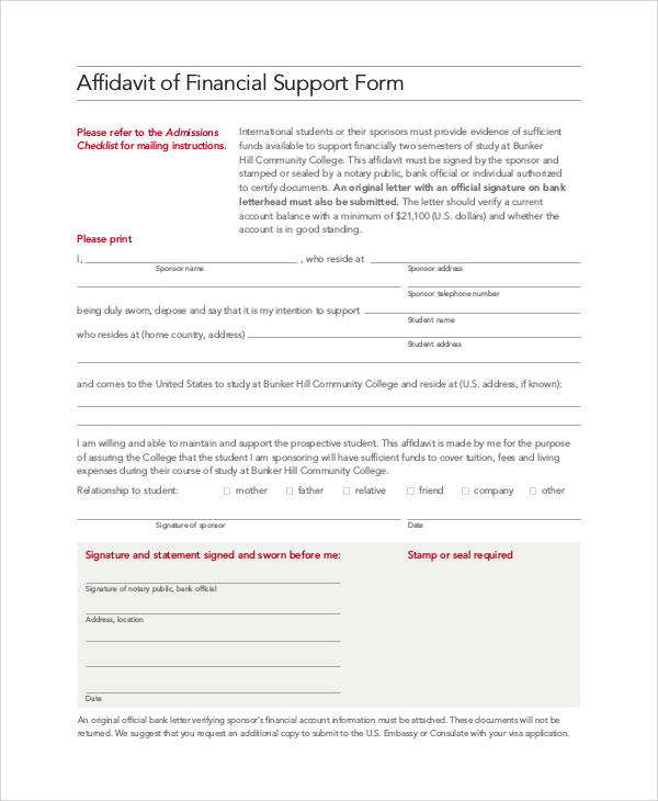 affidavit of support form - Affidavit Of Support Form