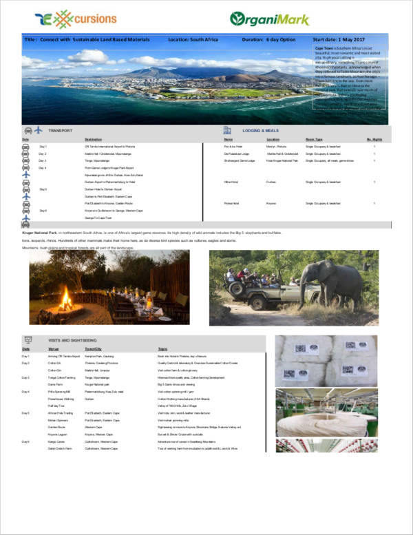 africa 6 day travel agenda