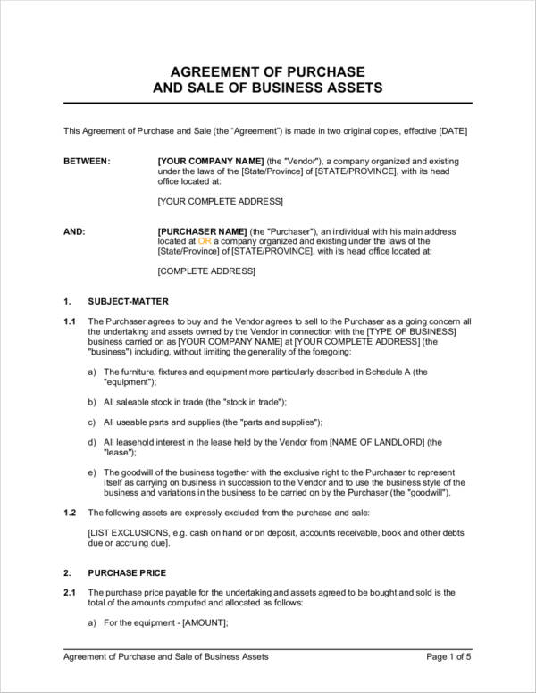 Business Sale Agreement Samples And Templates Pdf