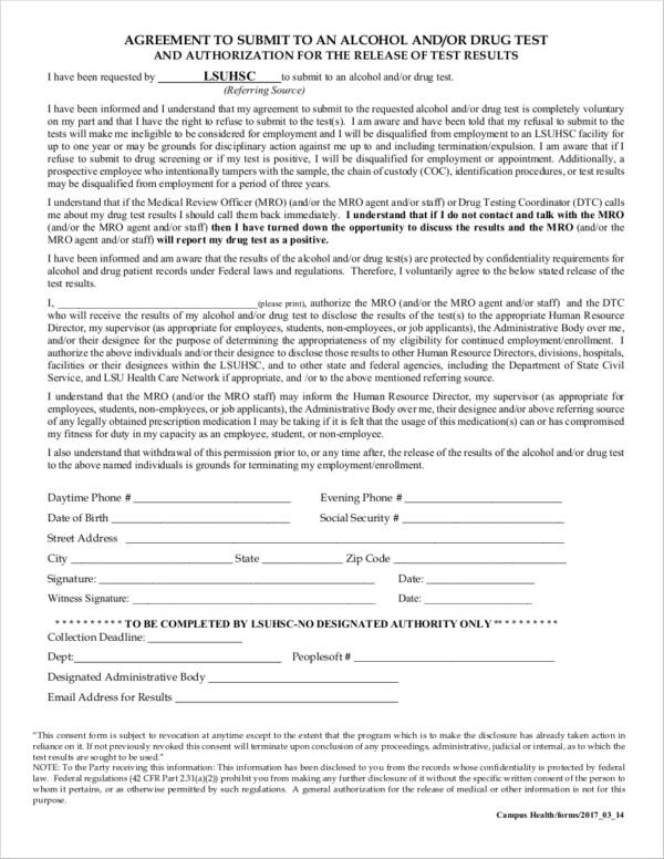 agreement to submit to alcohol and drug test