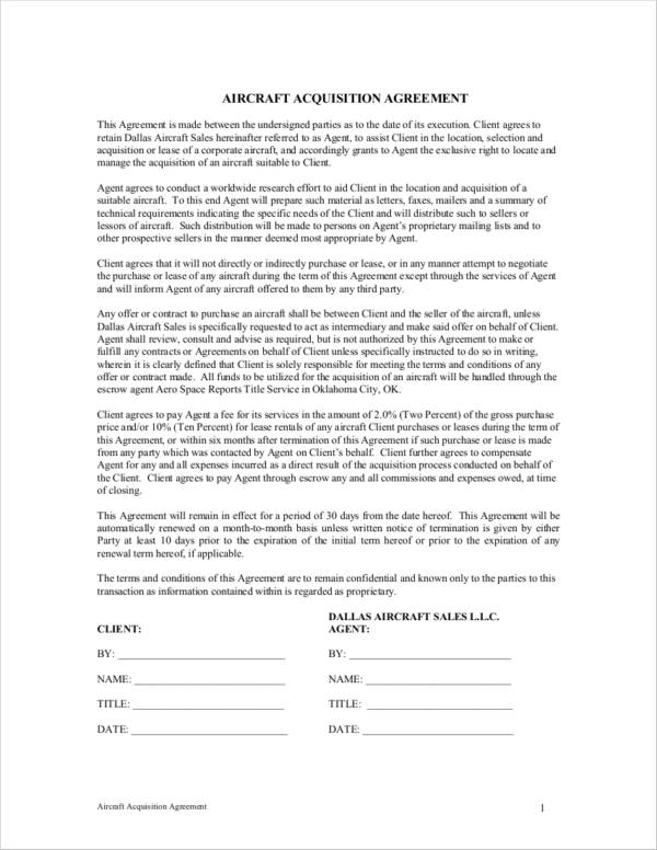 aircraft acquisition agreement