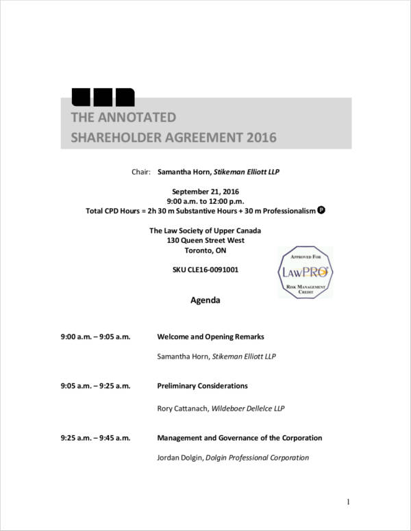 annotated shareholders agreement