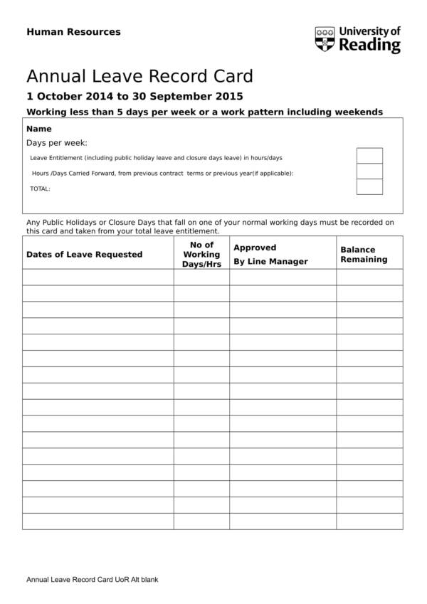 annual leave record card