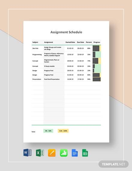 assignment schedule template