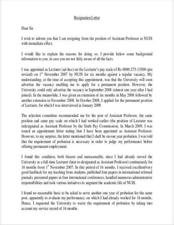 assistant teacher resignation letter format