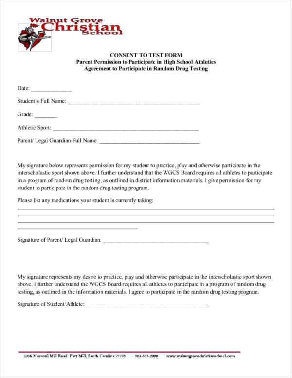 athlete drug test consent form agreement