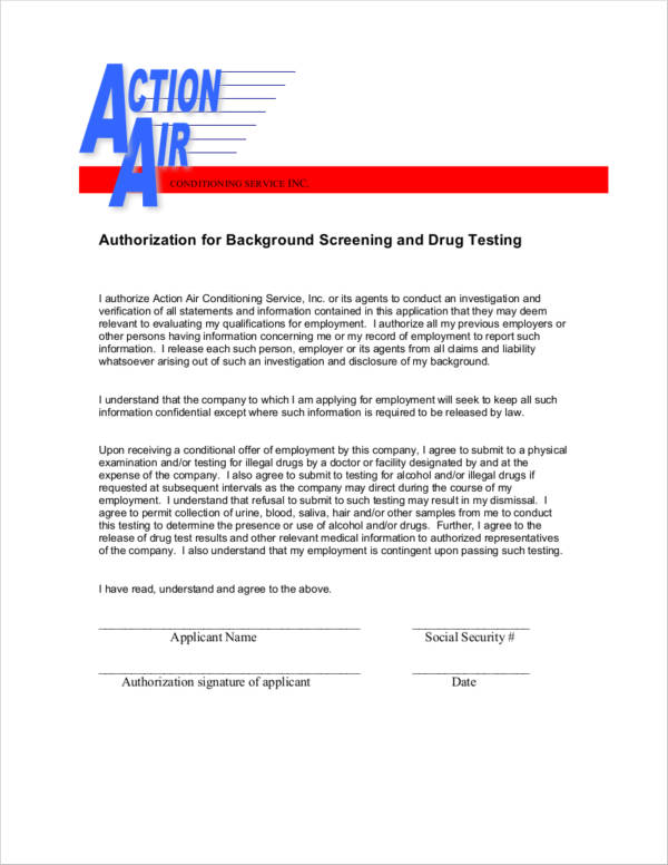 authorization for background screening and drug testing