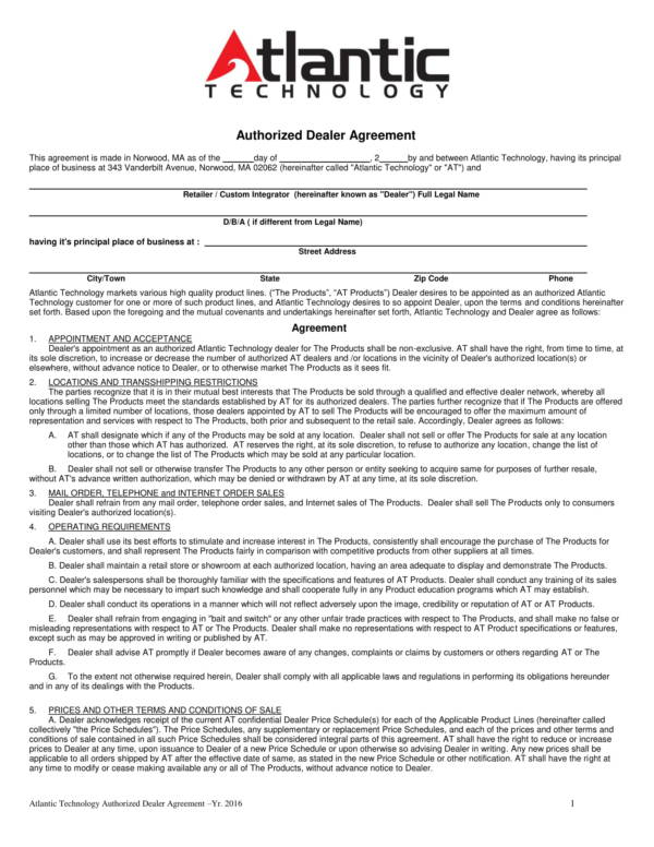 authorized dealer agreement of technical products