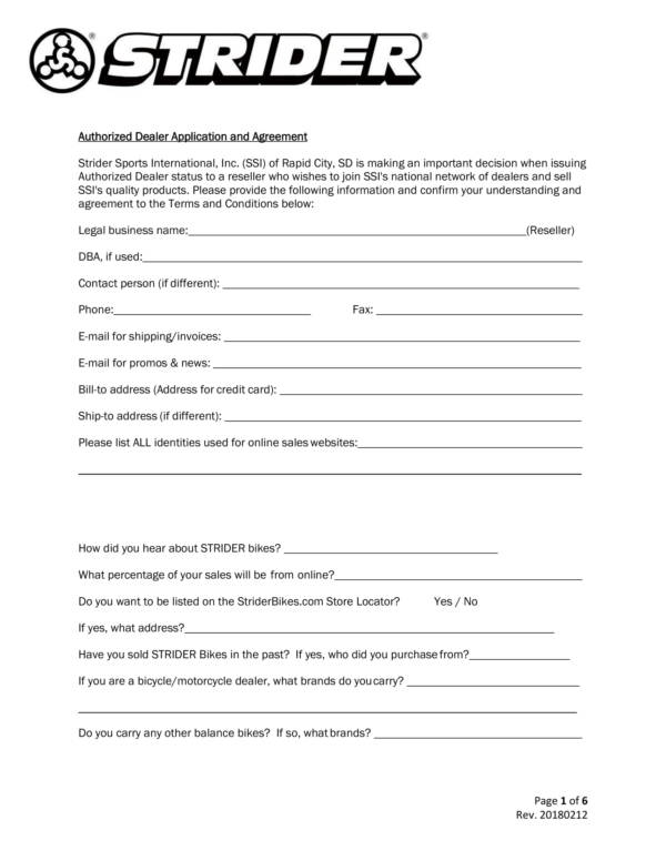 authorized dealer application and agreement