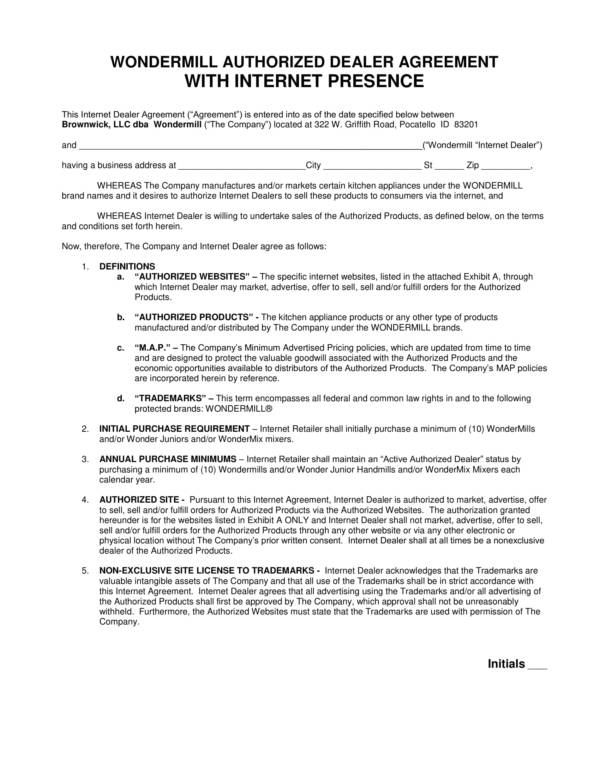 authorized internet dealer agreement