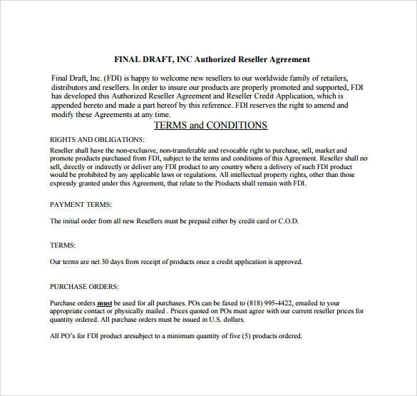 authorized reseller agreement final draft