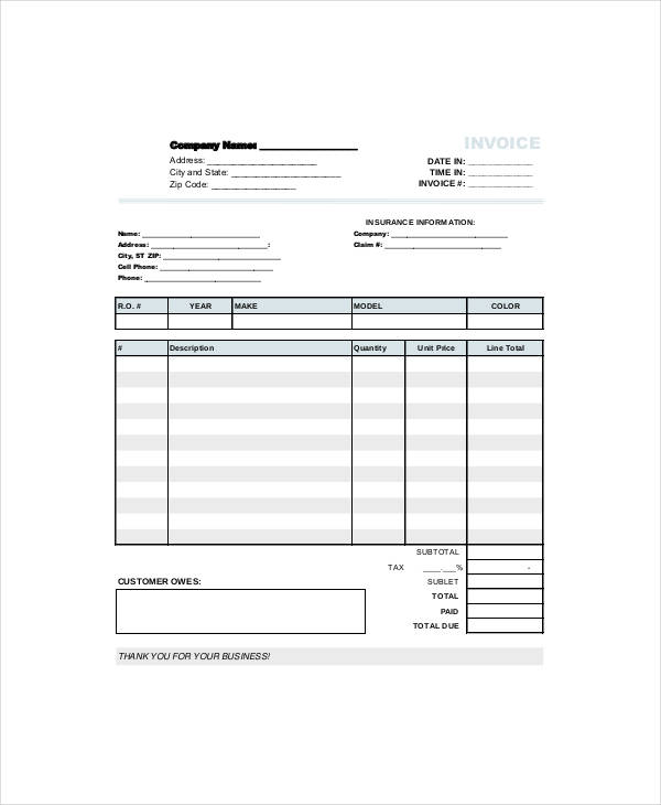 free 12  repair invoice templates in pdf