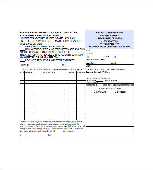 auto repair invoice form