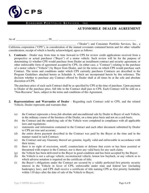 automonile dealer agreement template