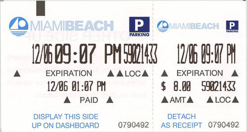 beach parking receipt sample