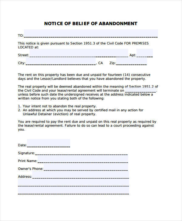 belief notice of abandonment template
