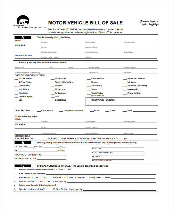bill of sale receipt