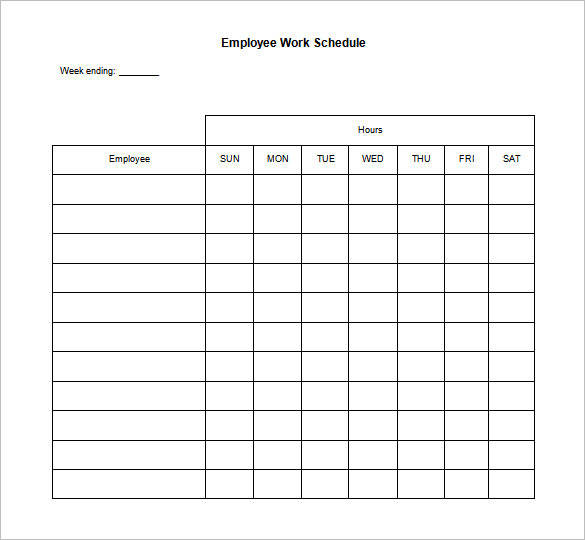blank employee daily work schedule template