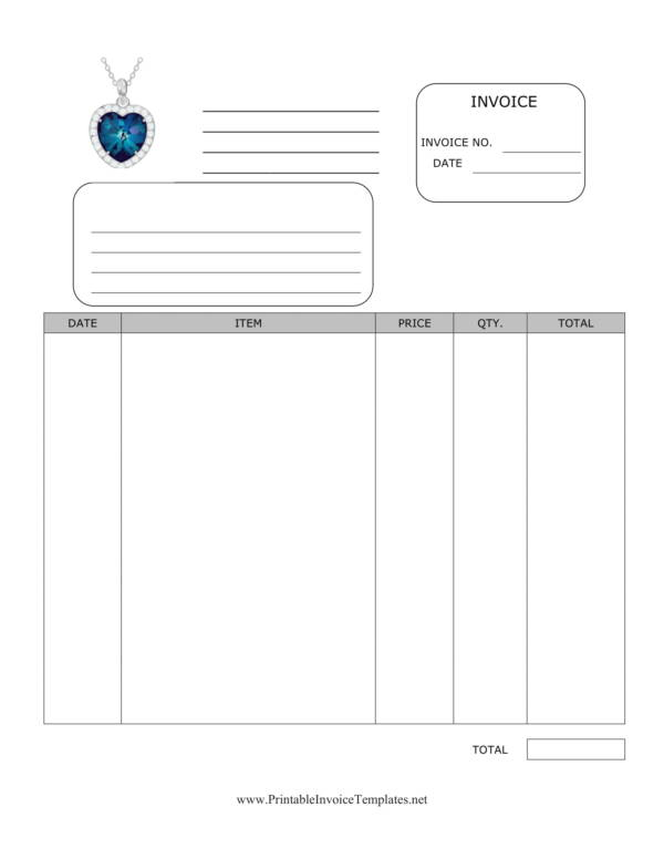 blank jewelry invoice template