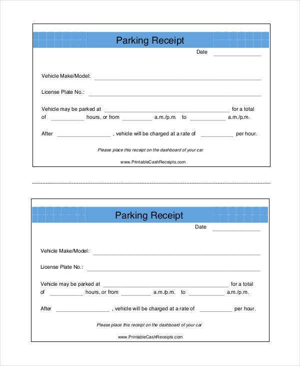 6+ Parking Receipt Samples - PDF, Word