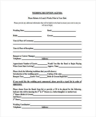 blank wedding reception agenda
