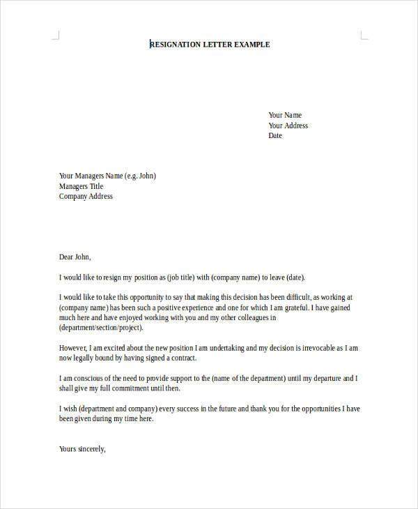 board resignation letter format