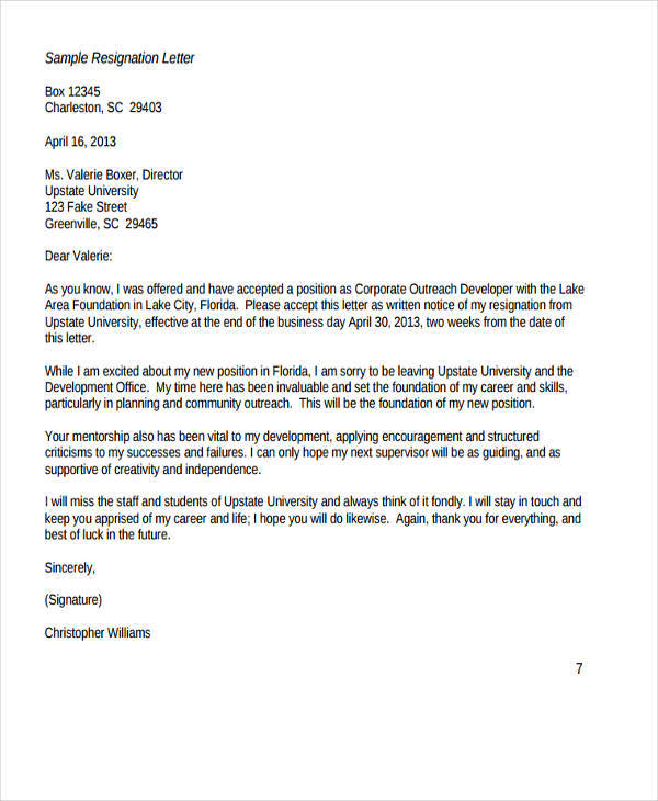 board resignation thank you letter