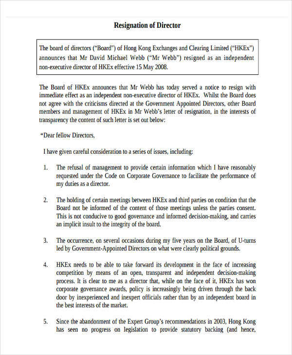 board of directors resignation letter template - Board Member Resignation Letter Sample