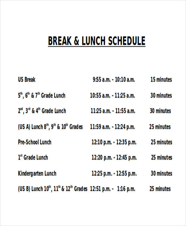 13 lunch schedule samples and templates pdf word for Break and lunch schedule template