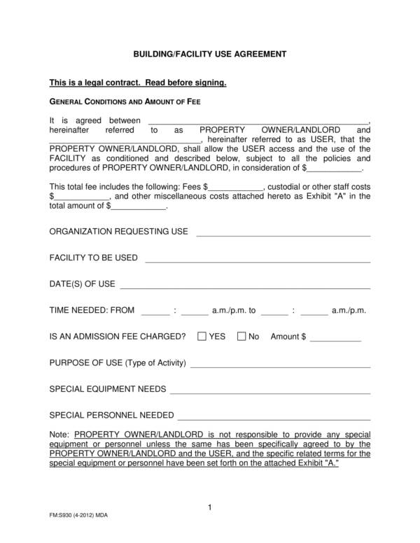 building facility use agreement template 1
