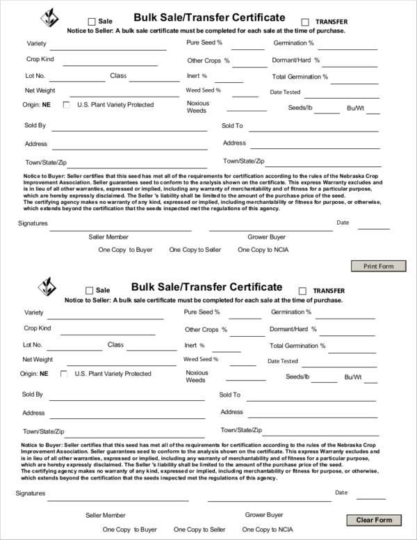 bulk sale notice certificate