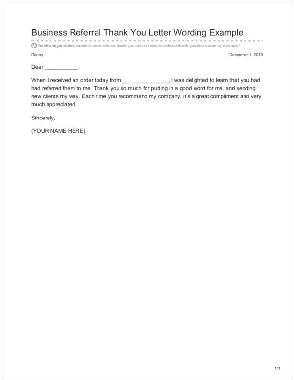 business referral thank you letter wording example