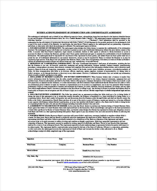 business sales confidentiality agreement