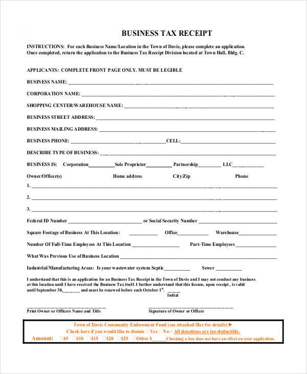 business tax receipt template