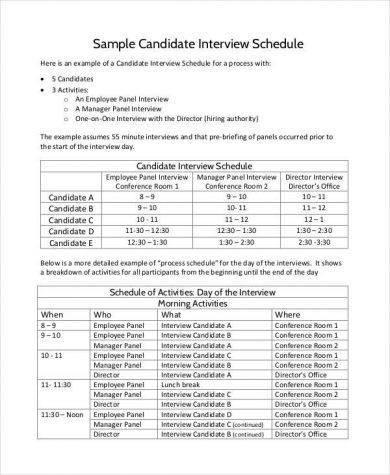 candidate interview schedule agenda