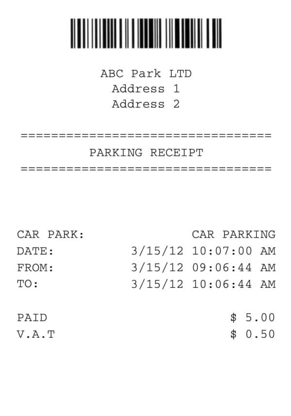 car parking receipt template